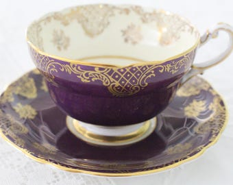 RARE, Vintage English Fine Bone China Tea Cup and Saucer by Paragon Double Warrant, H.M. the Queen & H.M. Queen Mary - ca. 1939 - 1949