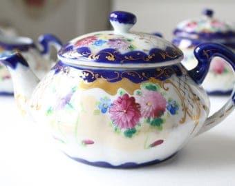 TEA SET, Porcelain Teapot, Creamer and Sugar Bowl, Handpainted, Cobalt Blue, Nippon Era, Japan, Tea Party, Gifts for Her