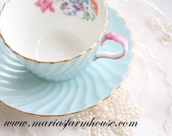 TEA CUP, Vintage, English Bone China Tea Cup and Saucer by John Aynsley, Pastel Blue with Pink Handle, Swirl Pattern, Replacement China