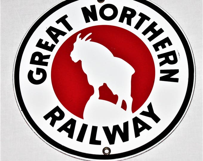 Vintage Great Northern Railway Porcelain Painted Sign