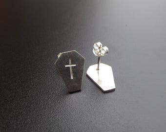 silver gothic coffin earrings