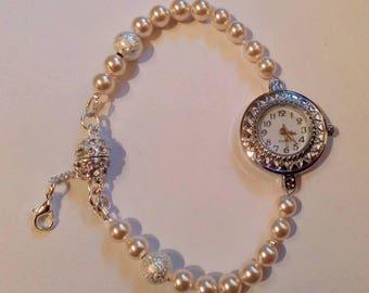 Swarovski pearl stardust watch, Ladies watch, Swarovski Elements, gift for her, mother's day gift, Bridal watch, cream pearl watch.