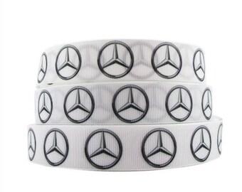 "7/8"" Mercedes Benz Grosgrain Ribbon Cars"