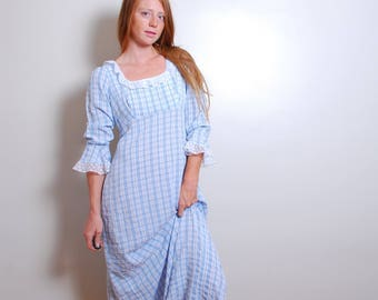80s medium hand made long blue plaid empire waist colonial costume lace quarter lenght sleeve maxi dress womens vintage clothing