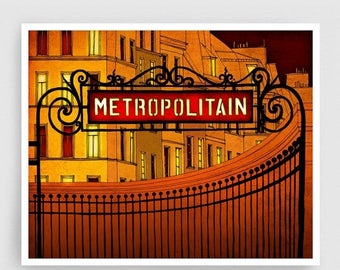 30% OFF SALE: Paris illustration - Metropolitain - Metro sign Art Print Poster Paris art Paris decor Home decor Yellow Orange Architectural