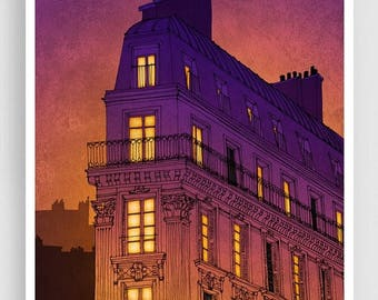 30% OFF SALE: Paris illustration - Boulevard de Magenta - Art Illustration Print Poster Paris Art Prints Paris decor Wall decor Architectura