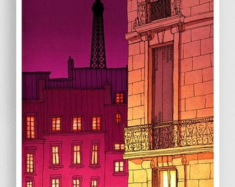 30% OFF SALE: Paris illustration - Paris windows (night version) - Art illustration Prints Posters Architectural drawing Red Travel poster