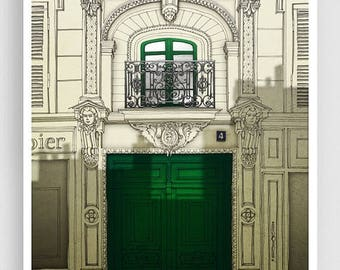 30% OFF SALE: Fight for the light (green) - Paris illustration Giclee Art prints Paris decor City prints Paris facade Architectural drawing