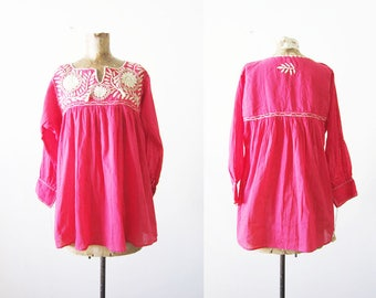 Mexican Embroidered Shirt - Embroidered Tunic Top - Mexican Peasant Blouse - Pink Mexico Shirt - Boho Blouse - Bohemian Tassel Shirt - M L