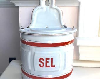 Fabulous Red and White French Antique Enamelware Salt Box, Made and Signed by St. Servais, c. 1900-1910