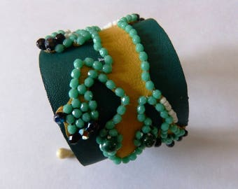 """The Margouillat"" embroidered leather Cuff Bracelet"