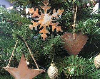 "Rusted Metal Christmas Ornament Gift Set - STAR, SNOWFLAKE, HEART - 4"" tall"