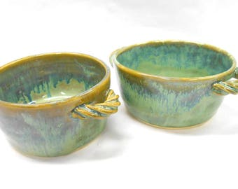Ceramic Crocks Pottery Baking Dishes Pottery Soup Bowls Pottery Crocks French Onion Soup Bowls Small Casseroles in Green and Blue