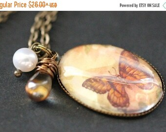 SUMMER SALE Henna Butterfly Necklace. Butterfly Pendant with Glass Teardrop and Pearl. Charm Necklace. Wearable Art Jewelry. Handmade Jewell