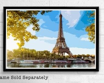 Eiffel Tower 7 - Paris Landmark Pop Art Print and Poster France Monument Landmark Europe Travel Home Decor Canvas