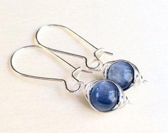 Kyanite Earrings, Sterling Silver Kyanite Earrings, Blue Kyanite Earrings