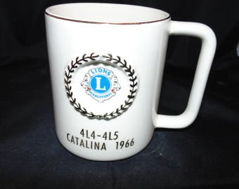Vintage Antique Ceramic Lions Club International Coffee mug 1966 Catalina 4L4-4L5 Gold Gilt