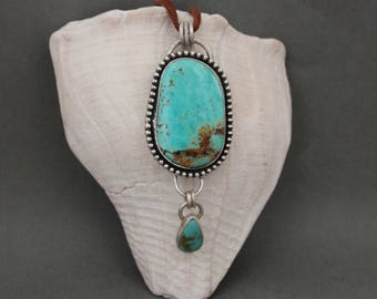 Bohemian Turquoise Necklace, Large Turquoise Silver Pendant, Southwestern Jewelry,  Artisan Made, Rustic Earthy Necklace