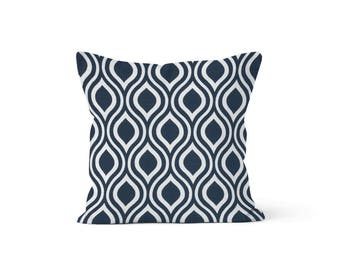 Blue Lattice Pillow Cover Trellis - Nicole Premier Blue - Lumbar 12 14 16 18 20 22 24 26 Euro - Hidden Zipper Closure