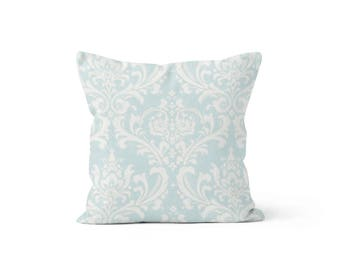Blue Damask Pillow Cover - Osborne Powder Blue - Lumbar 12 14 16 18 20 22 24 26 Euro - Hidden Zipper Closure