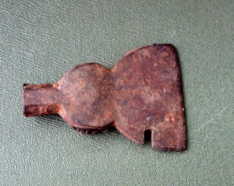 """Vintage Miniature Iron Ax Head, Rotted Wood Still Present, Antique Toy?  2"""" Dull Blade"""