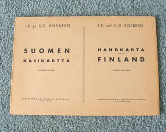 1945 Suomen Käsikartta - Handkarta över Finland, Larger Fold Out Color Map of Finland in Beautiful Shape!