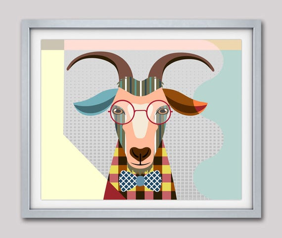 Goat Print, Goat Art, Goat Decor, Goat Pop Art, Goat Poster, Goat Painting, Goat Gifts, Goat Home Decor, Goat Drawing, Goat Illustration