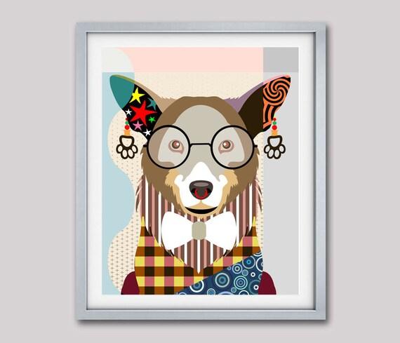 Corgi Art Print,  Corgi Poster, Corgi Decor, Pembroke Corgi Gifts, Welsh Corgi, Pem, PWC, Dog Breed Poster, Dog Breed Print