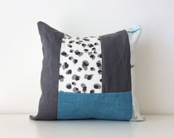 Modern Color Block Patchwork Pillow Cover, 16x16, Contemporary Cushion Cover, Floral, Leopard Print, Minimalist, Urban, Blue Gray Colours