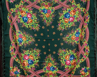 Russian shawl, Dark green scarf. Floral chale russe, Chic Mantón hustka. Babushka head scarf, Fringed Shawls, flower scarves, gift for her