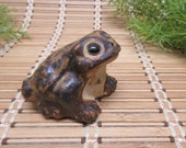 Toad Figurine Brown Ceramic Numbered Woodland Statue Decor Small Collectible Sitting Frog Speckled Vintage FREE SHIPPING (777)