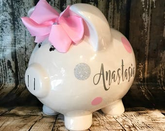 LARGE Personalized pink polka and glitter silver pilka dots,girl bank, birthday banks, custom piggy banks, baby's first piggy bank