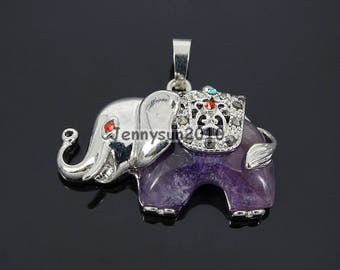 Natural Amethyst Gemstone Elephant Reiki Chakra Healing Pendant Charm Beads Silver Plated For Necklace Jewelry Making