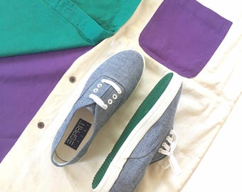 NOS esprit sneakers, vintage 90s, denim uppers, white rubber soles, never worn, size 6 1/2