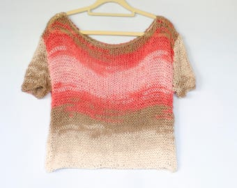 Cotton Shirts, Cute Knit Tops, Off Shoulder Blouse, Cotton Blend Knitted Sweater, Short Sleeve Jumper