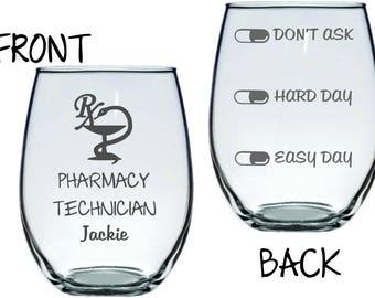 Pharmacy Technician Glass Funny FREE Personalization