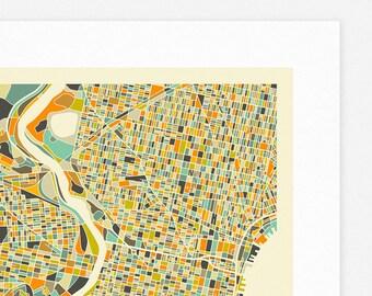 PHILADELPHIA MAP (Giclée Fine Art Print/Photographic Print/Poster Print) by Jazzberry Blue (ivory version)