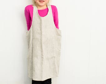Children's Pinafore Apron in Oatmeal Linen
