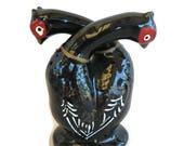 ceramic salt and pepper, both in one piece, black pheasant birds, 1950's