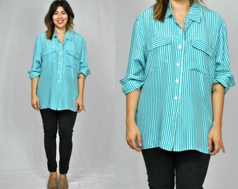 1990s Blue Striped Button Down