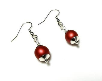 matte metallic red Czech glass bead silver earrings hypoallergenic earrings nickel free earrings dangle drop classic beaded jewelry
