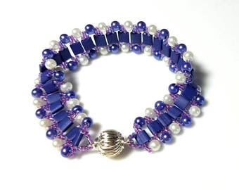 satin denim blue tila beads white dark blue pearl cuff bracelet woven purple seed beads bracelet modern beadwork jewelry bracelets for women