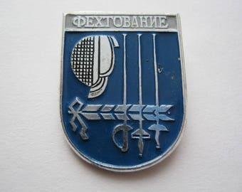 Vintage soviet union USSR sport pin badge Fencing rapier swordplay