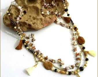 Collier/Sautoir Beige/Écru/Marron  - Perles, Nacre, Céramique, pompons et métal