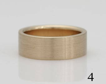14k yellow gold band, size 4 and custom sizes, #432.