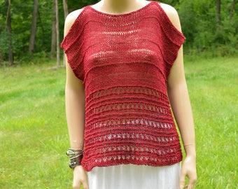 Boho Top, Peek a boo Top, Red Top, Bohemian Tunic, Summer Wear, Style Tunic, Fashion Tunic, Loose Knitting, Knit Wear Hand Made