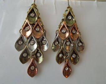 Layered Earrings in Gold, Silver and Bronze Tones with Clear Rhinestones