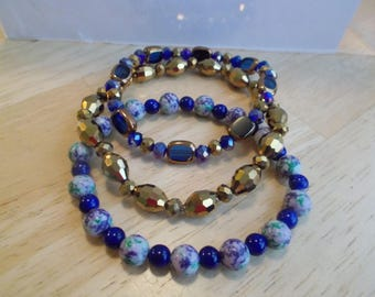 3 Stretch Bangle Bracelets with Gold and Blue Crystal and Multi Color Turquoise Beads