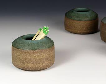 Stoneware Match strike vase with matte green glaze