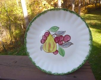 "Blue Ridge County Fair-Pear & Cherries Luncheon Plate,  8 1/2"" Blue Ridge Pottery Company   (T)"